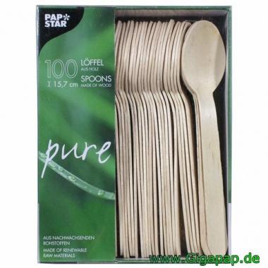 100 Löffel, Suppenlöffel aus Holz -pure- 15,7 cm