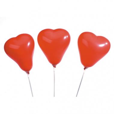5 Luftballons Ø 13 cm rot -Herz- mit 16 cm Haltestäben