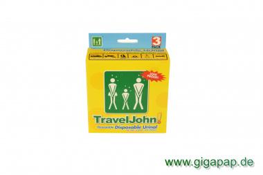 3 Wegwerf- Urinale 800ml mit Tüchern Unisex von Travel John