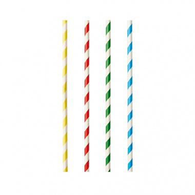 100 Shake-Halme, Papier Ø 8 mm · 21 cm farbig sortiert Stripes