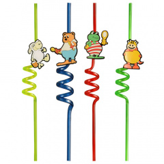 2 Trinkhalme 28 cm farbig sortiert -Funny Animals-