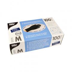 100 Handschuhe, Latex puderfrei schwarz Größe M, chloriniert, mikrogeraut