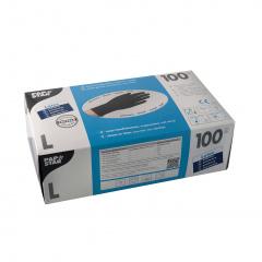 100 Handschuhe, Latex puderfrei schwarz Größe L, chloriniert, mikrogeraut