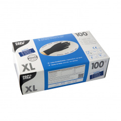 100 Handschuhe, Latex puderfrei schwarz Größe XL, chloriniert, mikrogeraut