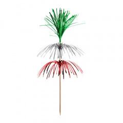 100 Deko-Picker 18 cm -Feuerwerk- grün/silber/rot, 3-lagig