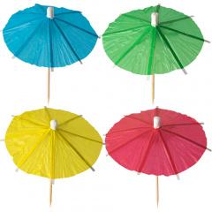 144 Deko-Picker 10 cm farbig sortiert -Eisschirmchen uni-