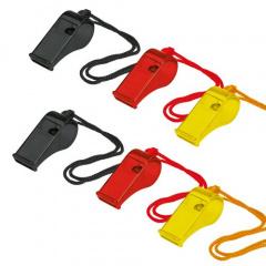 10 Trillerpfeifen 55 mm -schwarz / rot / gelb- Fußball