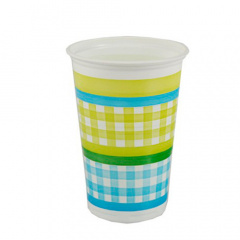 20 Trinkbecher, PP 0,2 l Ø 7 cm 9,9 cm blau/grün -Vichy & Flowers-