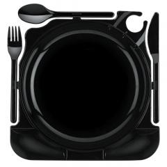 6 Cater Plates, PS 27 cm x 26,5 cm x 2,8 cm schwarz