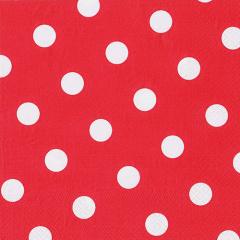 20 Servietten, 3-lagig 1/4-Falz 40 cm x 40 cm rot -Dots-