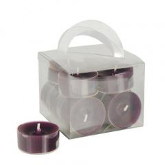 12 Teelichte Ø 38 mm 18 mm lila in Polycarbonathülle, durchgefärbt
