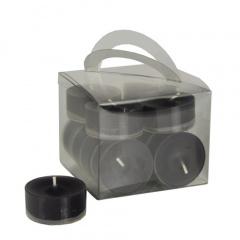 12 Teelichter Ø 38 mm 18 mm schwarz in Polycarbonathülle, durchgefärbt