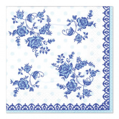 20 Servietten, 3-lagig 1/4-Falz 33 cm x 33 cm -Frisian Blue-