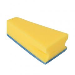 3 Keilschwämme 14 cm x 7,9 cm x 4,2 cm blau/gelb mit praktischem Mundrandreiniger