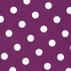 20 Servietten, 3-lagig 1/4-Falz 40 cm x 40 cm lila -Dots-