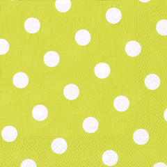 20 Servietten, 3-lagig 1/4-Falz 40 cm x 40 cm limonengrün -Dots-