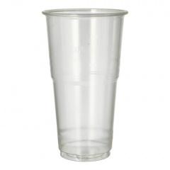 60 Kaltgetränkebecher, PLA -pure- 0,5 l Ø 9,5 cm 16,2 cm glasklar mit Schaumrand