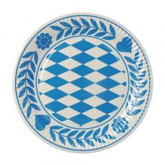 100 Teller, Pappe rund Ø 23 cm -Bayrisch Blau-Bayern Raute