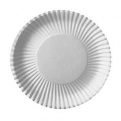 100 Teller tief, Pappe rund Ø 23 cm 3 cm weiss beschichtet