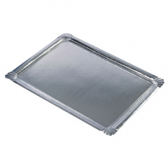 10 Servierplatten, PE-beschichtet eckig 34 cm x 45,5 cm silber