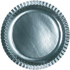 6 Teller, Pappe rund Ø 29 cm silber
