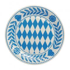 10 Teller, Pappe rund Ø 23 cm -Bayrisch Blau- Oktoberfest