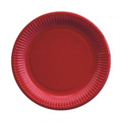 20 Teller, Pappe rund Ø 23 cm rot