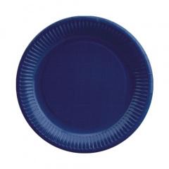 20 Teller, Pappe rund Ø 23 cm dunkelblau