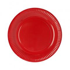 50 Teller, Pappe rund Ø 23 cm rot
