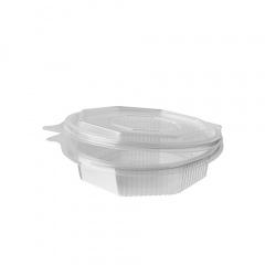 50 Verpackungsbecher mit Klappdeckeln, PP 8-eckig 250 ml 3,6 cm x 13,8 cm x 14,5 cm transparent