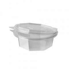 50 Verpackungsbecher mit Klappdeckeln, PP 8-eckig 375 ml 5,2 cm x 13,8 cm x 14,5 cm transparent