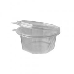 50 Verpackungsbecher mit Klappdeckeln, PP 8-eckig 500 ml 6,7 cm x 13,8 cm x 14,5 cm transparent