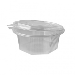 50 Verpackungsbecher mit Klappdeckeln, PP 8-eckig 750 ml 7,1 cm x 16,3 cm x 16,5 cm transparent