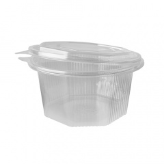 50 Verpackungsbecher mit Klappdeckeln, PP 8-eckig 1 l 9,1 cm x 16,5 cm x 16,8 cm transparent