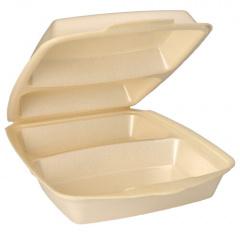 50 Menüboxen mit Klappdeckeln, EPS 2-geteilt 7,5 cm x 22 cm x 28,5 cm beige laminiert