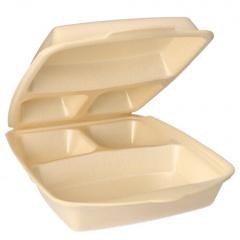 50 Menüboxen mit Klappdeckeln, EPS 3-geteilt 7,5 cm x 22 cm x 28,5 cm beige laminiert