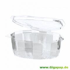 100 Feinkost- und Salatschalen mit Klappdeckeln, PET oval 250 ml 4,2 cm x 12,6 cm x 10,5 cm glasklar