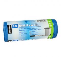 10 Müllsäcke, LDPE 60 l 85 cm x 60 cm blau