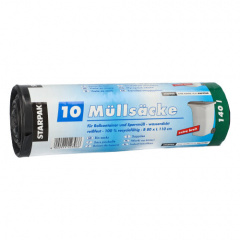 10 Müllsäcke, LDPE 140 l 110 cm x 80 cm schwarz