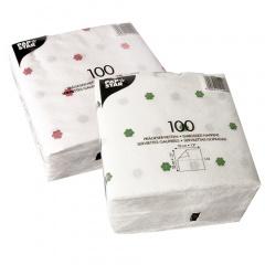 100 Servietten, 1-lagig 1/4-Falz 33 cm x 33 cm weiss -Blumendruck-