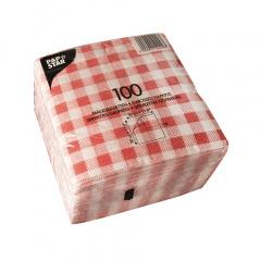 100 Servietten, 1-lagig -Economy- 1/4-Falz 30 cm x 30 cm Karo rot/weiss