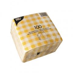 100 Servietten, 1-lagig -Economy- 1/4-Falz 30 cm x 30 cm Karo gelb/weiss