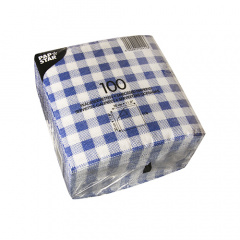 100 Servietten, 1-lagig -Economy- 1/4-Falz 30 cm x 30 cm Karo blau/weiss