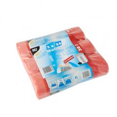 75 Müllbeutel zum Zuziehen, HDPE 30 l 70 cm x 55 cm rot