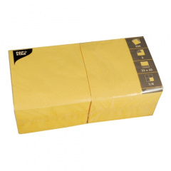 250 Servietten, 3-lagig 1/4-Falz 33 cm x 33 cm gelb