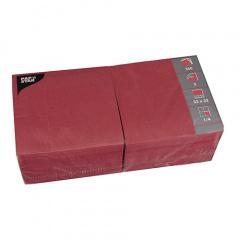 1000 Servietten, 3-lagig 1/4-Falz 33 cm x 33 cm bordeaux - Karton