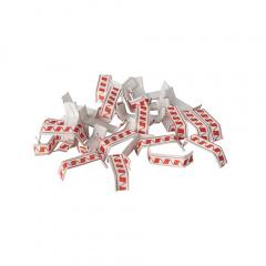 1000 Verschluss-Clips, drahtverstärktes Papier 3,4 cm x 0,8 cm x 0,1 cm rot/weiss