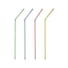 40 Trinkhalme, flexibel Ø 5 mm 21 cm weiss -Streifen-