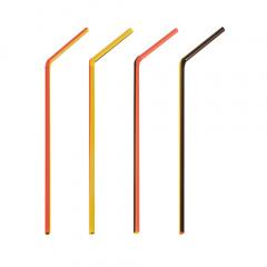 40 Trinkhalme, flexibel Ø 5 mm 21 cm -Schwarz-Rot-Gelb-