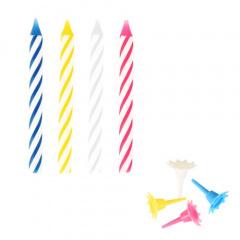 24 Geburtstagskerzen mit Halter 6 cm farbig sortiert